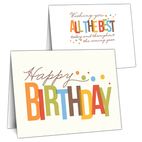 Colorful Lettering Business Birthday Card