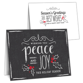 Blackboard Peace Business Holiday Card