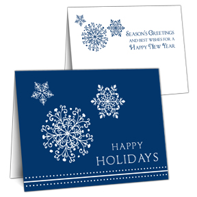 Blue Snowflake Business Christmas Card