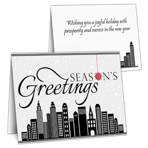 City Skyline Business Christmas Card
