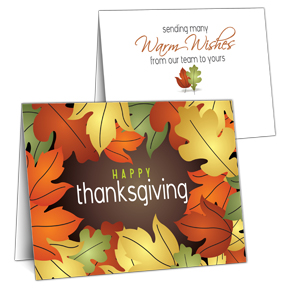 Autumn Leaves Business Thanksgiving Card
