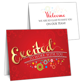 Excited Employee Welcome Card