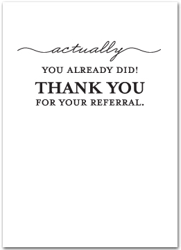Thank You For Referral Business Greeting Cards