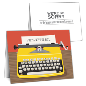 Business Apology Card - Typewriter