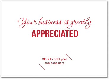 Red thank you card with slots for business card business greeting greeting card size 5 x 7 m4hsunfo