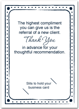 Ask for referrals business greeting cards my custom inside greeting doesnt look the same as yours dont worry once we receive your order our art department will send a free proof for your colourmoves