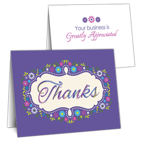 Floral Frame Business Thank You Card