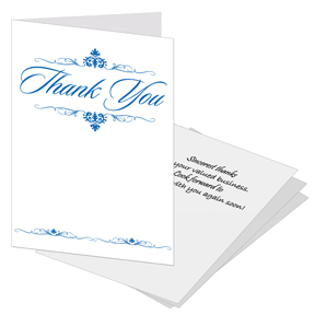 Thank you card with slots to hold business card