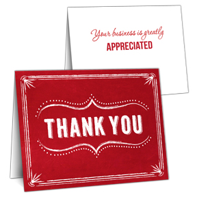 Red Thank you card with slots for business card