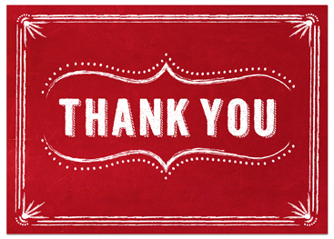 Red Thank You Card With Slots For Business Greeting Cards