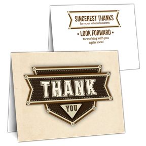 Plated Business Thank You Card