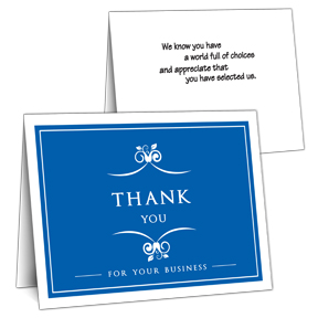 Blue Business Thank You Card On Sale Inside Greeting