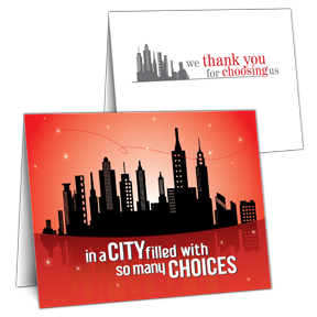City Skyline Business Thank You Card