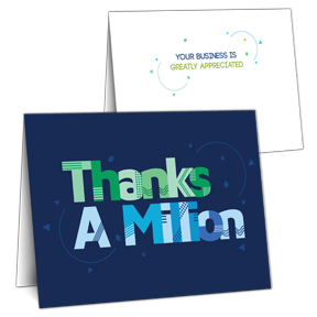 Million Thanks card with slots for business card